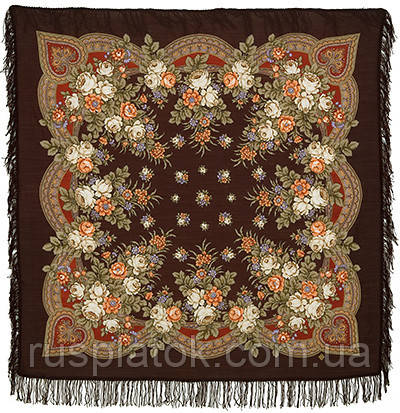 Грушенька 1019-17, павлопосадский платок шерстяной с шерстяной бахромой