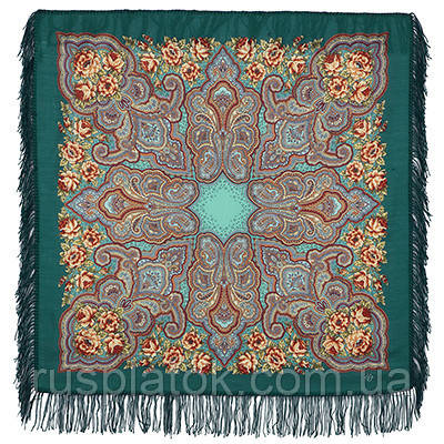 Камаринская 1559-12, павлопосадский платок шерстяной с шерстяной бахромой