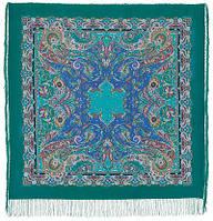 Восточные сладости 1429-9, павлопосадский платок (шаль, крепдешин) шелковый с шелковой бахромой, фото 1