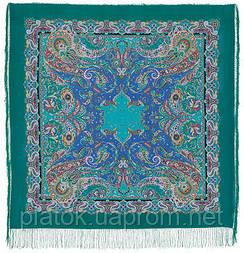 Восточные сладости 1429-9, павлопосадский платок (шаль, крепдешин) шелковый с шелковой бахромой