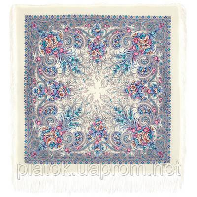 Март 904-4, павлопосадский платок шерстяной (двуниточная шерсть) с шелковой бахромой
