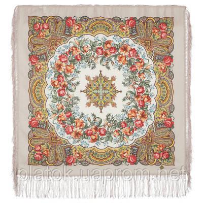 Русский перепляс 1684-2, павлопосадский платок шерстяной  с шелковой бахромой