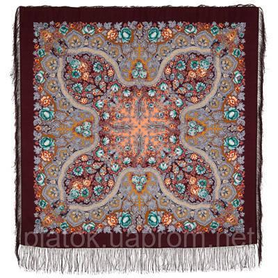 Лесной ручей 1626-8, павлопосадский платок шерстяной (двуниточная шерсть) с шелковой бахромой