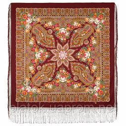 Сад дивных снов 1703-6, павлопосадский платок (шаль) из уплотненной шерсти с шелковой вязаной бахромой