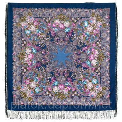 Медовый полдень 1724-14, павлопосадский платок шерстяной  с шелковой бахромой