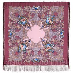 Луч солнца золотого 1685-3, павлопосадский платок шерстяной с шелковой бахромой