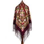 Желанная 1744-7, павлопосадский платок (шаль) из уплотненной шерсти с шелковой вязанной бахромой, фото 2