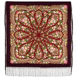 Желанная 1744-7, павлопосадский платок (шаль) из уплотненной шерсти с шелковой вязанной бахромой, фото 4