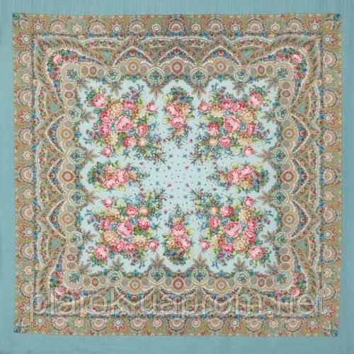 Славянка 1465-11, павлопосадский платок (шаль) из уплотненной шерсти с шелковой вязанной бахромой