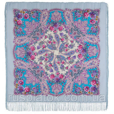 В лучах солнца 1682-1, павлопосадский платок шерстяной с шелковой бахромой