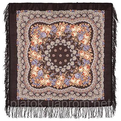 Нежный вечер 1195-17, павлопосадский платок шерстяной с шерстяной бахромой