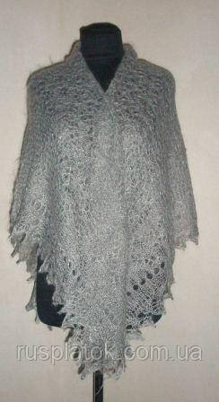 "Шаль """"Туман"""" s-00048-120, серый, оренбургский платок (шаль)"