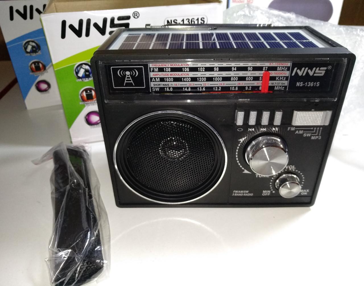 Радиоприемник Solar Charge NNS NS-1361S + фонарь LED (MP3, USB, FM, AM, AUX)