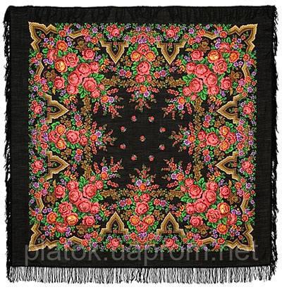 Русская красавица 325-18, павлопосадский платок шерстяной  с шерстяной бахромой