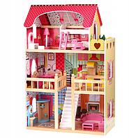 Игровой кукольный домик деревянный, высота 90 см + мебель