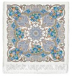 Княжеский 680-1, павлопосадский платок (шаль) из уплотненной шерсти с шелковой вязанной бахромой