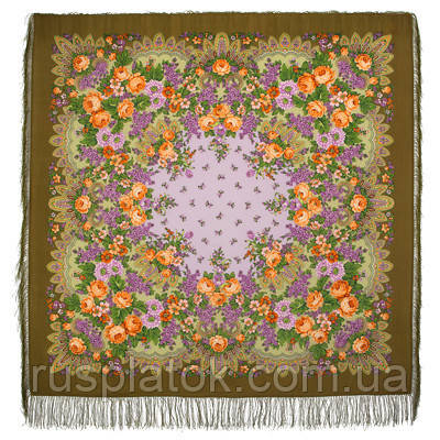 Цветет сирень 1360-10, павлопосадский платок шерстяной  с шелковой бахромой