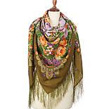 Цветет сирень 1360-10, павлопосадский платок шерстяной  с шелковой бахромой, фото 2