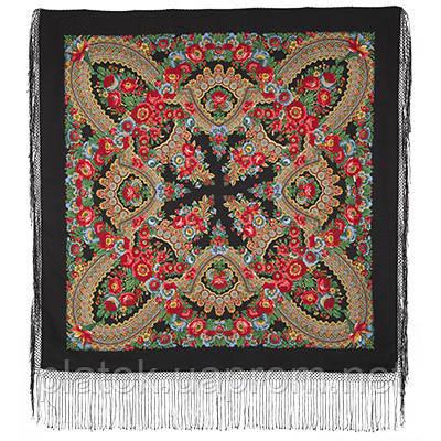 Подкова 377-19, павлопосадский платок (шаль) из уплотненной шерсти с шелковой вязанной бахромой