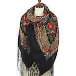 Подкова 377-19, павлопосадский платок (шаль) из уплотненной шерсти с шелковой вязанной бахромой, фото 6