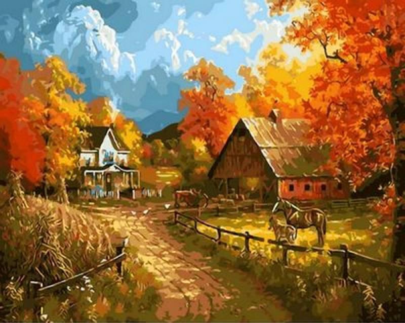 Картина за номерами Сільський пейзаж . Худ. Абрахам Хантер, 40x50 см Mariposa