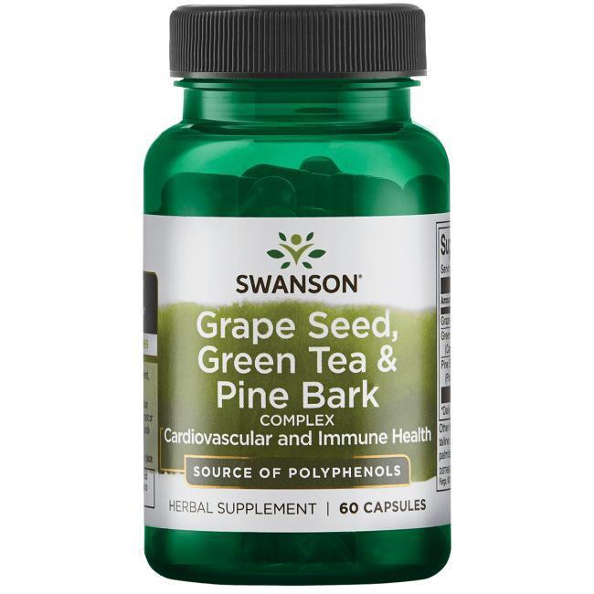 Антиоксидант виноградна кісточка зелений чай соснова кора, Swanson, 60 капсул