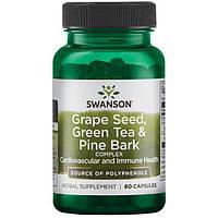 Антиоксидант виноградна кісточка зелений чай соснова кора, Swanson, 60 капсул, фото 1