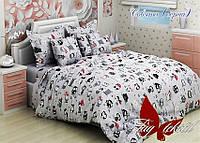 Комплект постельного белья Совята серый, фото 1