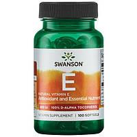 Витамин Е натуральный Swanson 400 мкг 100 капсул, фото 1