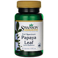 Листья папайи полного спектра, Papaya Leaf, Swanson, 400 мг, 60 капсул