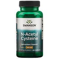 Цистеин, N-Acetyl Cysteine, Swanson, 600 мг, 100 капсул