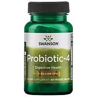 Комплекс из 4 пробиотиков, Swanson, 60 вегетарианских капсул