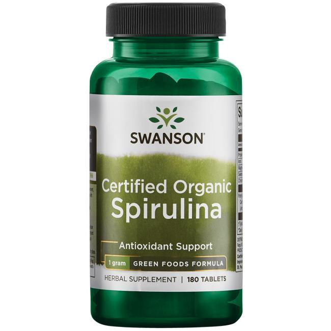 Спирулина натуральная, 180 таблеток, 500мг, Organic Spirulina, Swanson