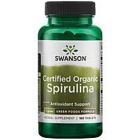 Спирулина натуральная, 180 таблеток, 500мг, Organic Spirulina, Swanson, фото 1