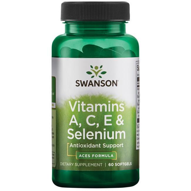 Витамины А С Е и селен, Swanson, 60 капсул