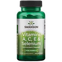 Витамины А С Е и селен, Swanson, 60 капсул, фото 1