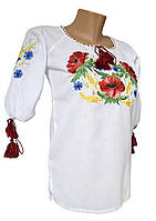 Підліткова вишиванка для дівчинки на домотканному полотні з рослинним орнаментом