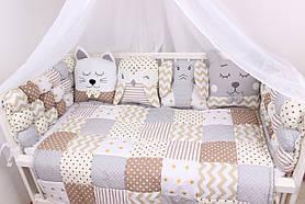 Комплект в ліжечко з іграшками в бежевих тонах