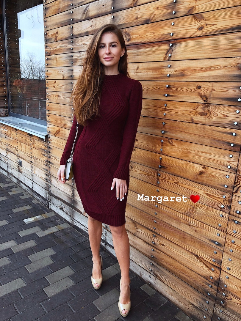 Платья вязка, 50% шерсть, 50% акрил. Размер:42-46. Цвета разные. (6099)