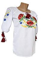 Женская вышитая рубашка маками с домотканого полотна в белом цвете
