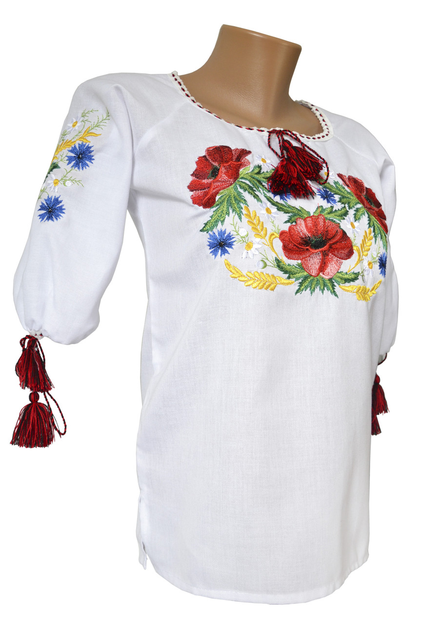 Жіноча вишита сорочка маками із домотканого полотна у білому кольорі