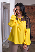 Женская блузка желтая, с 50-56 размер, фото 1