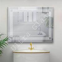 LED зеркало. ЛЕД зеркало. Зеркало с древним  узором в ванную с LED подсветкой.