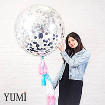Прозрачный гелиевый гигант с конфетти и гирляндой для девушки, фото 3