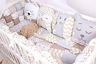 Бортики бомбон и игрушки в кроватку в бежевых цветах , фото 8