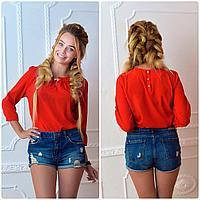 Блузка с брошкой бант (арт.779) красная, фото 1