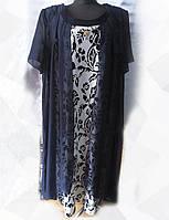 Платье с цветочным принтом женское батальное (шифон/ масло)