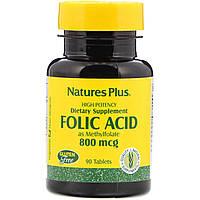 Фолиевая кислота, Nature's Plus, Folic Acid, 800 мкг, 90 таблеток