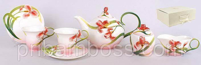 Чайний сервіз Червоний ірис 15 предметів: 6 чашок + 6 блюдець (чайник, молочник, цукорниця)