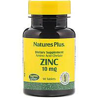 Цинк, Nature's Plus, Zinc, 10 мг, 90 таблеток